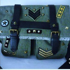 Steve Madden military patched messenger bag